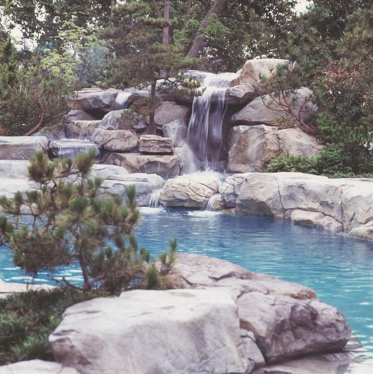 A playful change of scene landscape plants hardscape - Playboy swimming pool ...
