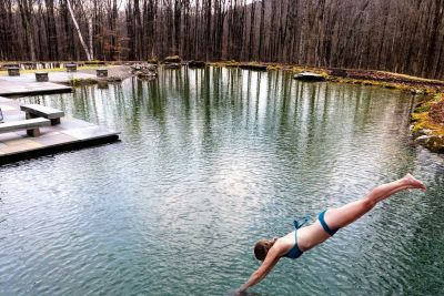 """There's something liberating about jumping from a high perch then plunging into pristine waters below, a thrill that's as old as humankind, says Anthony Archer Wills. That's the dream a recent client wanted for herself and family, a sensation he was all too happy to create in the form of a unique """"diving pond."""""""