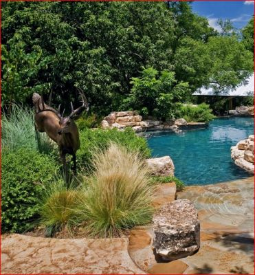 Designing with ornamental grasses can become addicting. I love the way these dramatic plant species add color, texture and elegant forms to planting areas. Here the grasses complement the bounding deer sculpture.