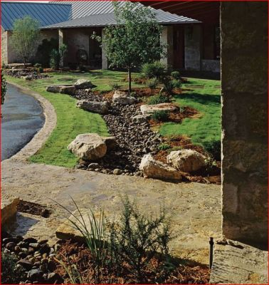 Incorporating xeriscape elements with grass reduces the water required and it adds dramatic visual interest to otherwise unassuming spaces.