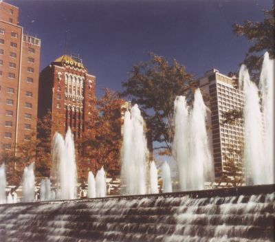 Encompassing a wide spectrum of artistic styles and making statements that range from the modest to the magnificent, the fountains of Kansas City are so tightly woven into the urban fabric that the town is justly known as 'The City of Fountains.'  Here, watershaper and Kansas City resident Curt Straub pays tribute to a tradition of fountain-craft that has shaped so many public spaces of his city – and defined a community's pride.  (Photo courtesy City of Fountains Foundation, Kansas City, Mo.)