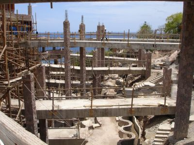 The design and installation of the circulation, filtration and chemical-treatment systems for the pools at St. Lucia's Jade Mountain was a task of monumental proportions and extreme technical, physical and logistical difficulty.  The effort was spearheaded by watershaper/hydraulics expert Chris Barnes, who spent months on site installing precision systems engineered to provide years of nearly maintenance-free service.