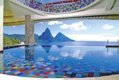 For more than 25 years, architect Nick Troubetzkoy has envisioned a uniquely natural resort on the island of St. Lucia:  No telephones, no televisions, no clocks – just a complete separation from the workaday world in a setting of unmatched beauty.  He's realized his dreams in Jade Mountain, a marvel of organic architectural design and host to more than two dozen vanishing-edge pools and waterfeatures set amidst hanging gardens.