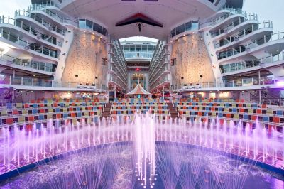 One of the most unusual watershape systems ever built, the AquaTheater on the recently launched Oasis of the Seas is the first theatrical waterfeature ever installed on a cruise ship.  In this special two-in-one article, Fluidity's Jim Garland and Tom Yankelitis begin with a description of the ideas and the design process that led to creation of this shipboard super-fountain, then Crystal Fountains' Ritesh Khetia discusses the engineering and systems-integration solutions that make it all work.